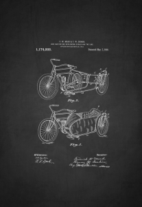 1916 motorcycle side car patent art drawing