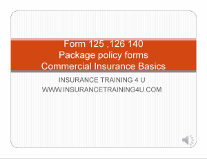 Commercial Package Basics Forms 125,126,140 | Movies and Videos | Training