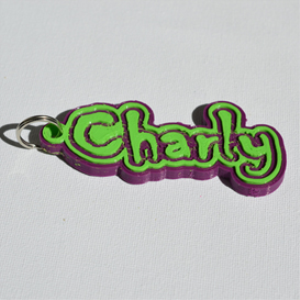 Charly Single & Dual Color 3D Printable Keychain-Badge-Stamp | Other Files | Patterns and Templates
