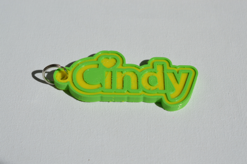 First Additional product image for - Cindy Single & Dual Color 3D Printable Keychain-Badge-Stamp
