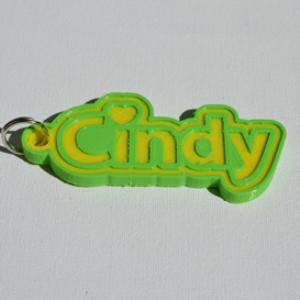 cindy single & dual color 3d printable keychain-badge-stamp