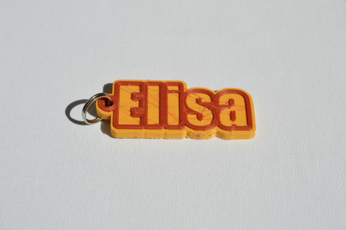 First Additional product image for - Elisa Single & Dual Color 3D Printable Keychain-Badge-Stamp