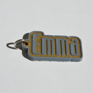 emma single & dual color 3d printable keychain-badge-stamp