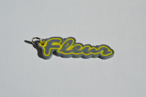 First Additional product image for - Fleur Single & Dual Color 3D Printable Keychain-Badge-Stamp