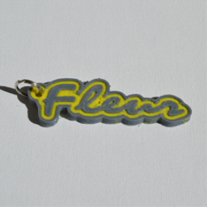 fleur single & dual color 3d printable keychain-badge-stamp