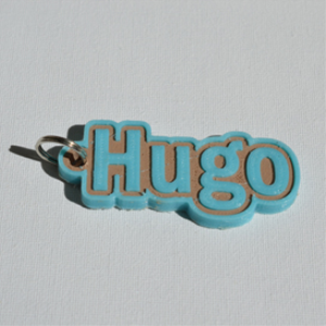hugo single & dual color 3d printable keychain-badge-stamp