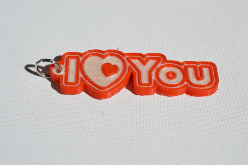First Additional product image for - I Love You : Single & Dual Color 3D Printable Keychain-Badge-Stamp