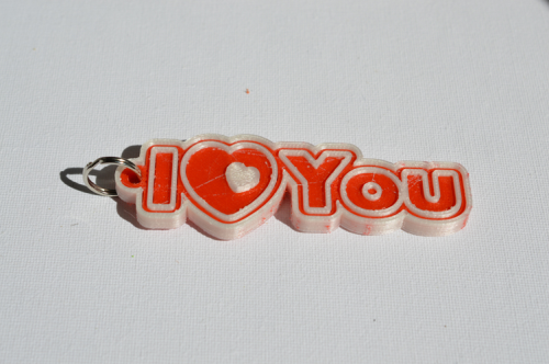 Second Additional product image for - I Love You : Single & Dual Color 3D Printable Keychain-Badge-Stamp
