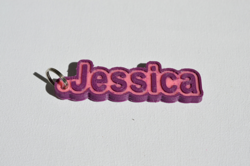 Second Additional product image for - Jessica Single & Dual Color 3D Printable Keychain-Badge-Stamp