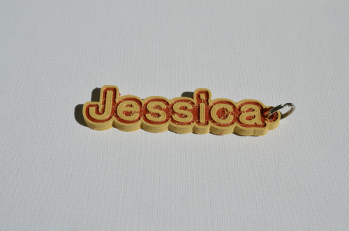 Third Additional product image for - Jessica Single & Dual Color 3D Printable Keychain-Badge-Stamp