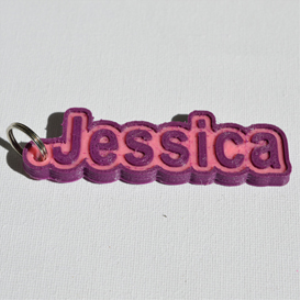 jessica single & dual color 3d printable keychain-badge-stamp