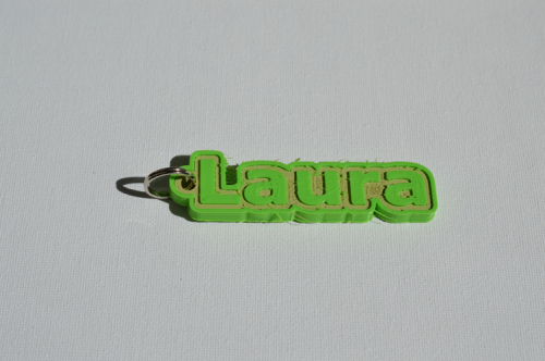 Second Additional product image for - Laura Single & Dual Color 3D Printable Keychain-Badge-Stamp