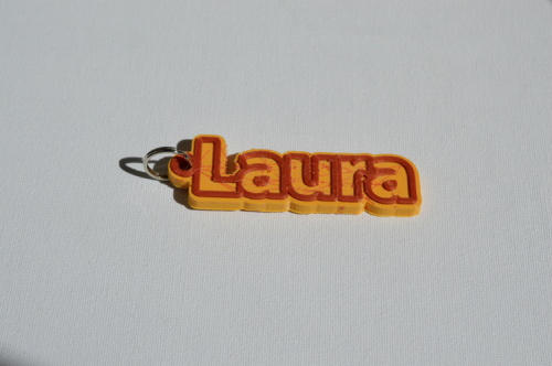 Third Additional product image for - Laura Single & Dual Color 3D Printable Keychain-Badge-Stamp