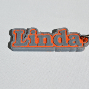 linda single & dual color 3d printable keychain-badge-stamp