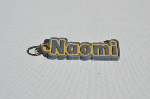 First Additional product image for - Naomi Single & Dual Color 3D Printable Keychain-Badge-Stamp