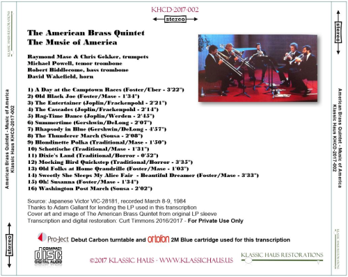 First Additional product image for - The Music of America - The American Brass Quintet