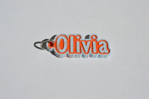 First Additional product image for - Olivia Single & Dual Color 3D Printable Keychain-Badge-Stamp