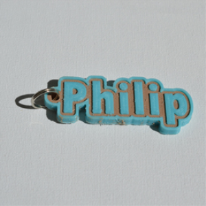 philip single & dual color 3d printable keychain-badge-stamp