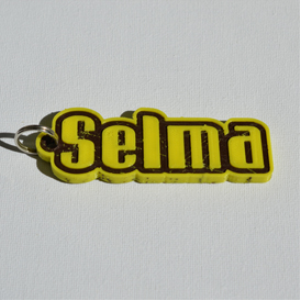 selma single & dual color 3d printable keychain-badge-stamp