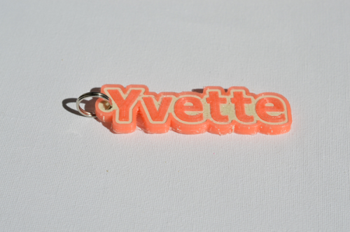 First Additional product image for - Yvette Single & Dual Color 3D Printable Keychain-Badge-Stamp