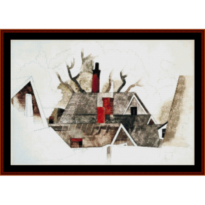 Red Chimneys, 1918 - Demuth cross stitch pattern by Cross Stitch Collectibles | Crafting | Cross-Stitch | Wall Hangings