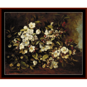 Branch of Apple Blossoms, 1871 - Courbet cross stitch pattern by Cross Stitch Collectibles | Crafting | Cross-Stitch | Wall Hangings