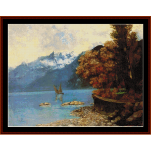 Lake Lehman, 1874 - Courbet cross stitch pattern by Cross Stitch Collectibles | Crafting | Cross-Stitch | Wall Hangings