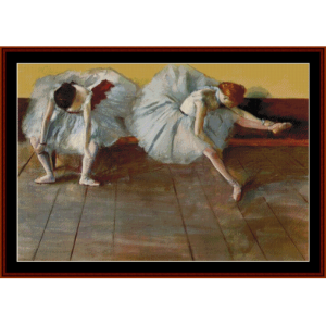 Two Ballet Dancers at Rest - Degas cross stitch pattern by Cross Stitch Collectibles | Crafting | Cross-Stitch | Wall Hangings