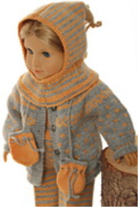dollknittingpattern model 0165d gabriela - sweater, cap, suit, socks and mittens-(english)