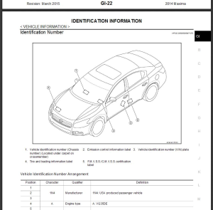 2014  nissan maxima a35 service repair manual & wiring diagram