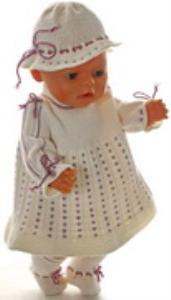 dollknittingpatterns 0166d lolita - kjole, bukse, strømper og pannebånd-(norsk)