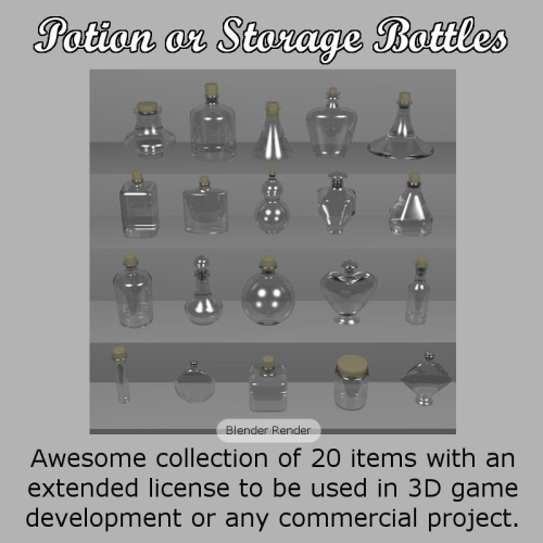 First Additional product image for - POTION BOTTLES for Game Dev (BLEND, DAE, FBX, OBJ)