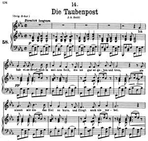 Die Taubenpost, D.957-14, Low Voice in E-Flat Major, F. Schubert | eBooks | Sheet Music