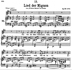 """lied der mignon d.877-4, """"nur wer die sehnsucht kennt"""", low voice in e minor, f. schubert"""