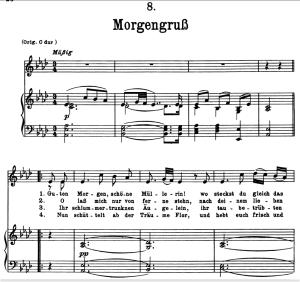 morgengruss d.795-8, low voice in a-flat major, f. schubert (die schöne müllerin), pet