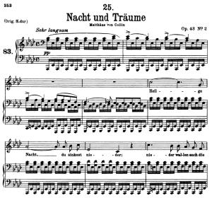 nacht und träume d.827, low voice in a-flat major, f. schubert