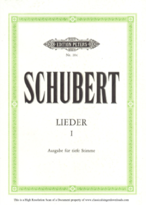 First Additional product image for - Schäfers Klagelied D.121, Low Voice in B-Flat minor, F. Schubert.