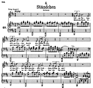 "Stândchen D.957-4, ""Leise flehen meine Lieder"", Low Voice in B minor, F. Schubert 