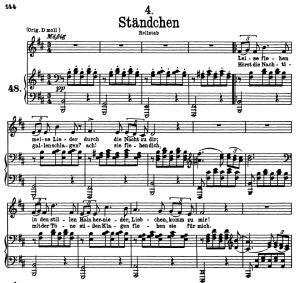 """stândchen d.957-4, """"leise flehen meine lieder"""", low voice in b minor, f. schubert"""