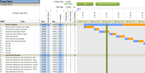 First Additional product image for - Commmercial Construction Schedule Excel Template 7-Day View