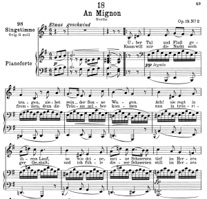 "an mignon d.161, ""über tal und fluss"" low voice in e minor, f. schubert."