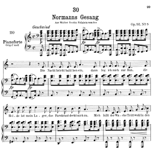 Normanns gesang D.846,  Low Voice in A minor, F. Schubert. | eBooks | Sheet Music