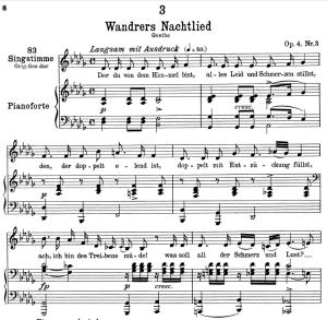 """wanderers nachtlied d.224 """"der du von dem himmel bist"""",  low voice in f major, f. schubert"""