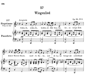 "Wiegenlied (Lullaby) D.498 ""Schlafe, schlafe, holder, süsser Knabe"",  Low Voice in F Major 