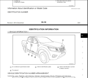 nissan navara d23 2014 service manual & wiring diagram
