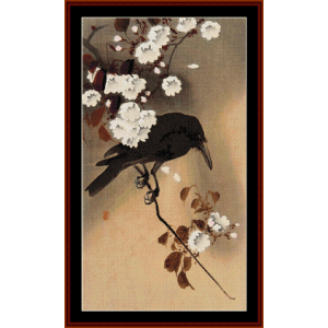 crow on a cherry branch - asian art cross stitch pattern by cross stitch collectibles