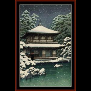 snow at ginkakuji - asian art cross stitch pattern by cross stitch collectibles