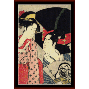 fan seller and a beauty - asian art cross stitch pattern by cross stitch collectibles