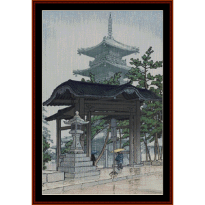 Zensetsu Temple - Asian Art cross stitch pattern by Cross Stitch Collectibles | Crafting | Cross-Stitch | Wall Hangings