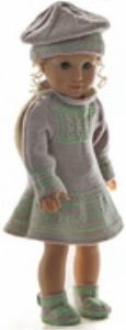 dollknittingpattern 0168d rakel -  dress, pants, hat and shoes-(english)
